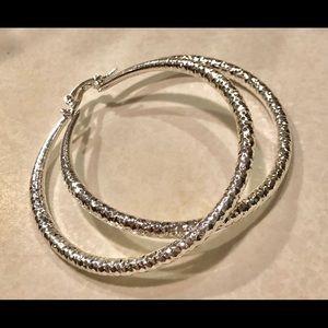 Jewelry - STERLING SILVER PLATED LARGE HOOP EARRINGS